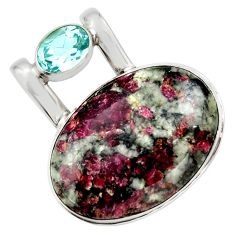 22.59cts natural pink eudialyte topaz 925 sterling silver pendant jewelry r32148