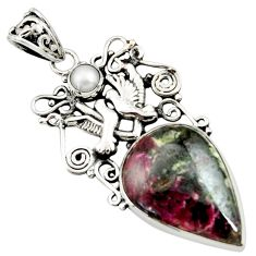 Clearance Sale- 19.48cts natural pink eudialyte white pearl 925 silver love birds pendant d44628