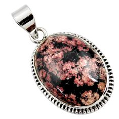 18.15cts natural pink firework obsidian 925 sterling silver pendant r27770