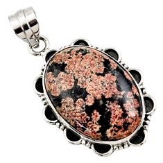 19.23cts natural pink firework obsidian 925 sterling silver pendant r27873
