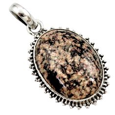 19.23cts natural pink firework obsidian 925 sterling silver pendant r27875