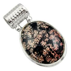 21.20cts natural pink firework obsidian 925 sterling silver pendant r32226