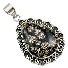 22.55cts natural pink firework obsidian 925 sterling silver pendant r32230
