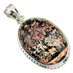 22.02cts natural pink firework obsidian 925 sterling silver pendant r32233