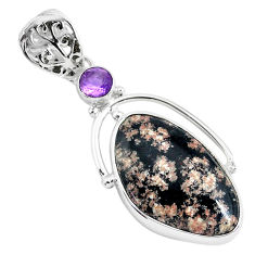 14.72cts natural pink firework obsidian fancy amethyst 925 silver pendant r94223