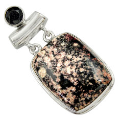 26.70cts natural pink firework obsidian onyx 925 sterling silver pendant r41675