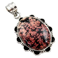 19.72cts natural pink firework obsidian oval 925 sterling silver pendant r27967