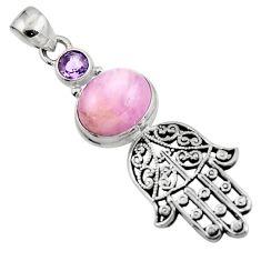 6.23cts natural pink kunzite 925 silver hand of god hamsa pendant jewelry r52783