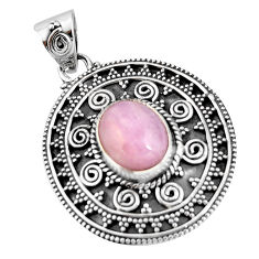 5.26cts natural pink kunzite 925 sterling silver pendant jewelry r20298