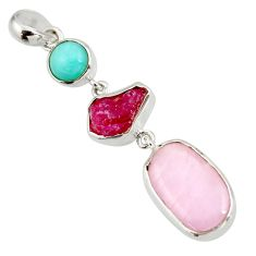 Clearance Sale- 16.15cts natural pink kunzite amazonite (hope stone) 925 silver pendant d39193
