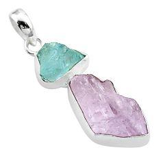 13.70cts natural pink kunzite aqua aquamarine raw 925 silver pendant t52308