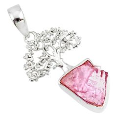 6.48cts natural pink kunzite raw 925 silver tree of life handmade pendant r80983