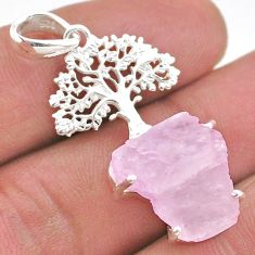 12.52cts natural pink kunzite raw 925 silver tree of life pendant t48406