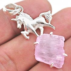 19.27cts natural pink kunzite raw 925 sterling silver horse pendant t48404