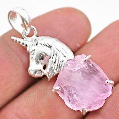 15.93cts natural pink kunzite raw 925 sterling silver horse pendant t48411
