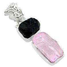 11.57cts natural pink kunzite raw tourmaline rough 925 silver pendant t20926