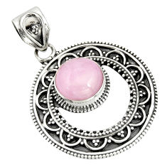 5.30cts natural pink kunzite round 925 sterling silver pendant jewelry r20293