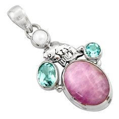 16.46cts natural pink kunzite topaz 925 sterling silver pendant jewelry d46753