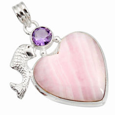 Clearance Sale- 30.40cts natural pink lace agate heart amethyst 925 silver fish pendant d42062