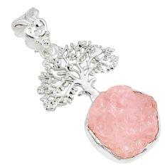 8.22cts natural pink morganite rough 925 silver tree of life pendant r81035