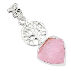 8.55cts natural pink morganite rough 925 silver tree of life pendant r81038