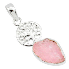 7.50cts natural pink morganite rough 925 silver tree of life pendant r81039
