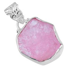 11.16cts natural pink morganite rough 925 sterling silver pendant jewelry r56611