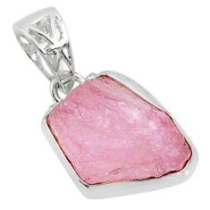 12.22cts natural pink morganite raw 925 silver handmade pendant r80691