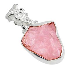 9.72cts natural pink morganite raw 925 sterling silver handmade pendant r80692