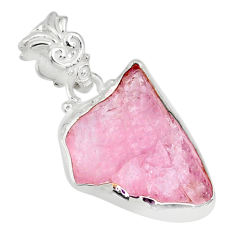 11.68cts natural pink morganite raw 925 silver handmade pendant r80697