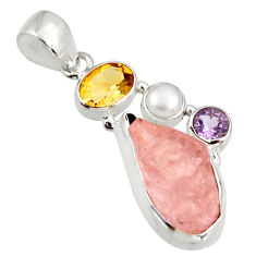 Clearance Sale- 13.24cts natural pink morganite rough amethyst pearl 925 silver pendant d39182