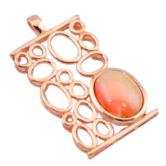 Natural pink opal 925 sterling silver 14k rose gold pendant a68349 c14048