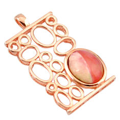 Natural pink opal 925 sterling silver 14k rose gold pendant a68351 c14056