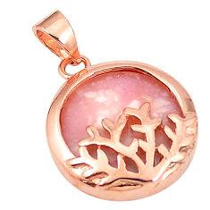 Natural pink opal 925 sterling silver 14k rose gold pendant a76141 c14117