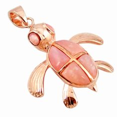 Natural pink opal 925 sterling silver 14k rose gold turtle pendant a68433 c14011