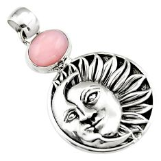 4.36cts natural pink opal 925 sterling silver crescent moon star pendant r19091