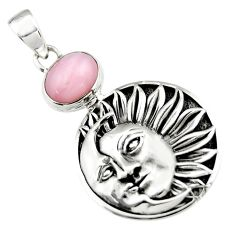 4.49cts natural pink opal 925 sterling silver crescent moon star pendant r19092