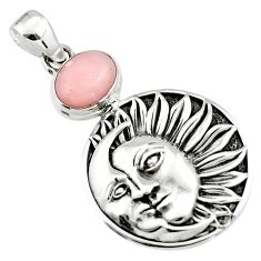 4.36cts natural pink opal 925 sterling silver crescent moon star pendant r19095