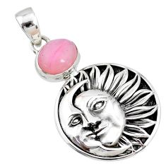 4.34cts natural pink opal 925 sterling silver crescent moon star pendant r72933