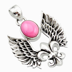 4.25cts natural pink opal 925 sterling silver feather charm pendant r52869