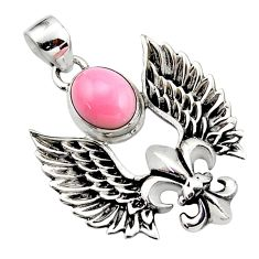 4.43cts natural pink opal 925 sterling silver feather charm pendant r52890
