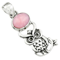 4.06cts natural pink opal 925 sterling silver owl pendant jewelry r19083