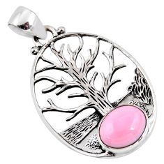 4.02cts natural pink opal 925 sterling silver tree of life pendant r53006