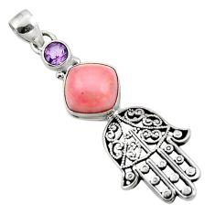 5.71cts natural pink opal amethyst 925 silver hand of god hamsa pendant r52789