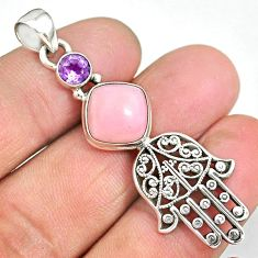 6.03cts natural pink opal amethyst 925 silver hand of god hamsa pendant r90362