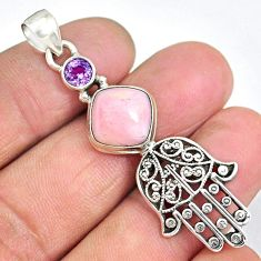 6.15cts natural pink opal amethyst 925 silver hand of god hamsa pendant r90363