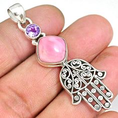 6.02cts natural pink opal amethyst 925 silver hand of god hamsa pendant r90364