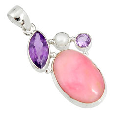 16.87cts natural pink opal amethyst 925 sterling silver pendant jewelry r19592