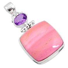 19.23cts natural pink opal amethyst 925 sterling silver pendant jewelry r66221