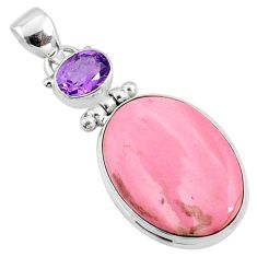 15.65cts natural pink opal amethyst 925 sterling silver pendant jewelry r66224